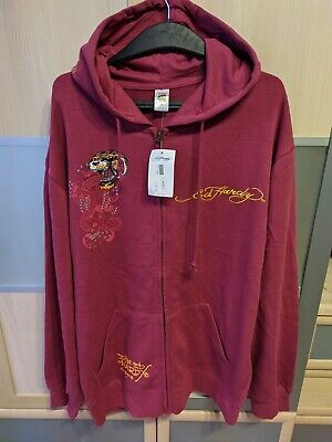 £35.41 • Buy Ed Hardy X Christian Audigier Zip Hoodie NEW WITH TAGS Cranberry Burgundy Tiger
