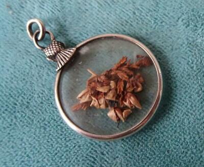 £50 • Buy ANTIQUE VICTORIAN SILVER DOUBLE SIDED PHOTO LOCKET FOB CHARM With Lucky Heather