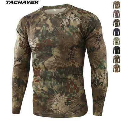 $13.99 • Buy Army Mens Tactical Combat Long Sleeve T-Shirt Military Outdoor Camouflage Casual