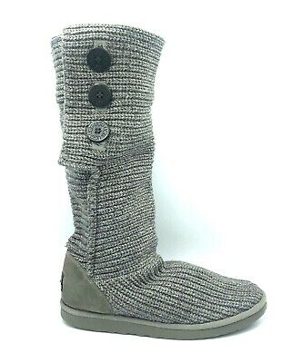 £28.29 • Buy UGG Womens Classic Cardy Knit Boots Gray Button Size 10