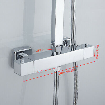 £35.99 • Buy Square Bathroom Thermostatic Shower Bath Mixer Taps Bar Brass Valve Twin Outlet`