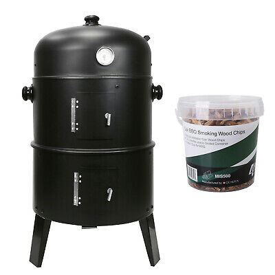 £46.99 • Buy 3 In 1 BBQ Charcoal Grill Barbecue Smoker & FREE Oak Smoking Wood Chips 1.25 LTR