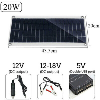 £21.99 • Buy 20W Portable Solar Panel 12V Trickle Charge Battery Charger Kit For Boat RV Car