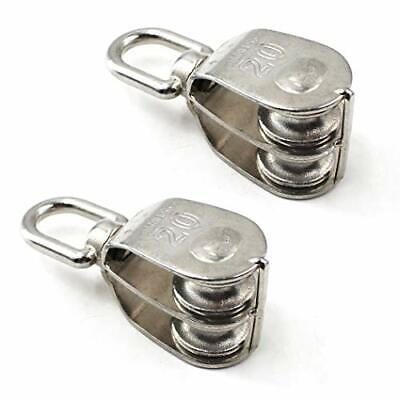 $16.65 • Buy M20 Wire Rope Double Pulley Block 304 Stainless Steel Roller Pulley Bearing R...