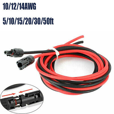 £11.13 • Buy DC/AC Solar Panel 2.5/4/6mm² Cable Wire Extensions Black & Red With Connector