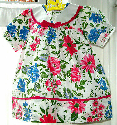 £8.95 • Buy Baby Girl Daisy Print Party Dress 3 - 6 M Retro Floral Frock Sailor Collar BHS