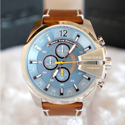 $109.99 • Buy Diesel Mega Chief Silver Case Blue Dial Brown Leather Watch DZ4458 SHIPS TODAY