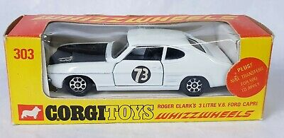 £110 • Buy Corgi 303 Roger Clarks 3 Ltr V6 Ford Capri Mint Boxed With Unnaplied Decals And