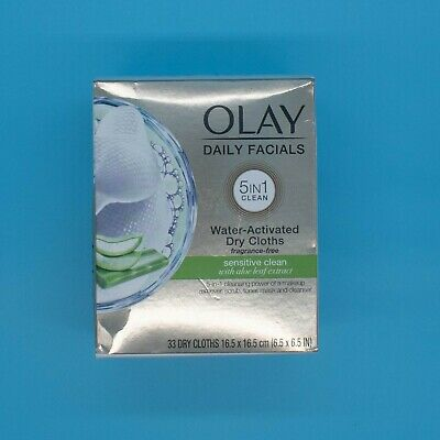 AU13.10 • Buy Olay Daily Facials Sensitive Clean 5 In 1 Water Activated 33 Dry Cloths