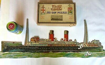£14.95 • Buy Antique Gwr Chad Valley Wooden Jigsaw Ss St. Julien Channel Island & Ww2 Ship