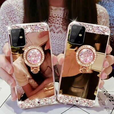 £4.39 • Buy Mirror Back Case Bling Diamond Ring Holder Stand Phone Cover For IPhone /Samsung