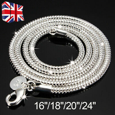 £3.69 • Buy 3mm 925 Solid Sterling Silver Snake Chain Necklace Inch Sizes 16 /18 /20  Hot