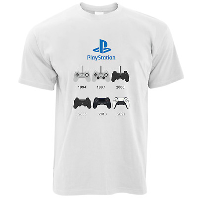 £9.99 • Buy Playstation History Of Controllers T-Shirt, Retro Games Console PS1 To PS5 *New*