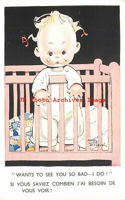 $7.99 • Buy Mabel Lucie Attwell, Valentine No 878, Crying Baby In Crib