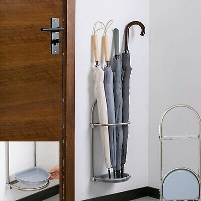 AU30 • Buy Wall Mounted Foldable Umbrella Stand Rack Holder For Entryway Stainless Steel