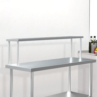 £85.95 • Buy Stainless Steel Commercial Kitchen Food Prep Table Over Shelf Bench Top 5FT