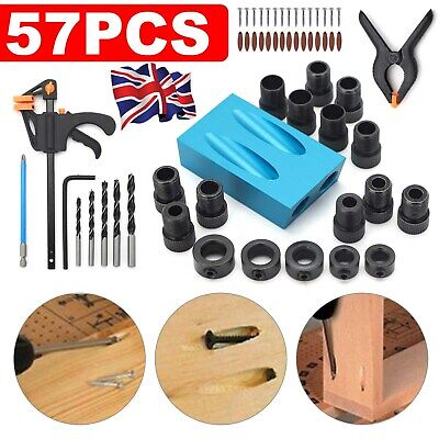 £9.99 • Buy 57pcs Silverline Pocket Hole Screw Jig Kit Woodworking Guide Drill Angle Locator