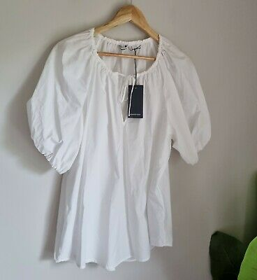 AU39.99 • Buy Country Road Puff Sleeve Popover Size 14, Large, White BNWT RRP $99.95