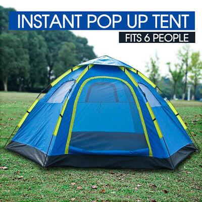 AU54.99 • Buy 6 Person Instant Pop Up Camping Tent Sets Up In Seconds Hiking Camping Fishing