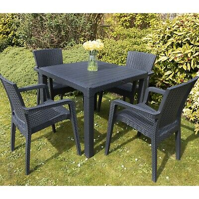 £299.99 • Buy Garden Patio Furniture Set 4 Chairs Table Coffee Bistro Set Rattan Style Outdoor