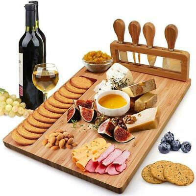 £23.04 • Buy Large Wooden Cheese Board Set Includes 4 Cheese Knives Cutting & Serving
