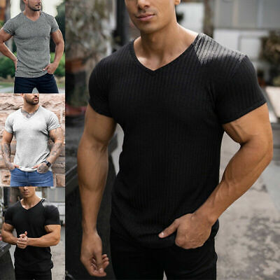 £13.99 • Buy Sport Gym Muscle Tee Tunic Men V Neck Short Sleeve Tops T-shirt Slim Fit Stretch