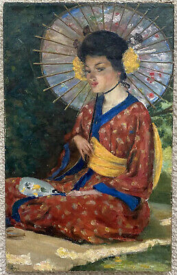 """$ CDN874.90 • Buy SPECTACULAR HIGHLY LISTED ESTHER HUNT GIRL PARASOL IN KIMONO OIL PAINTING 10x16"""""""