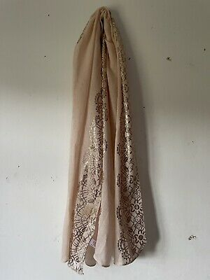 £6.99 • Buy Primark Peach Wide Thin Scarf With Gold Floral Edge Design