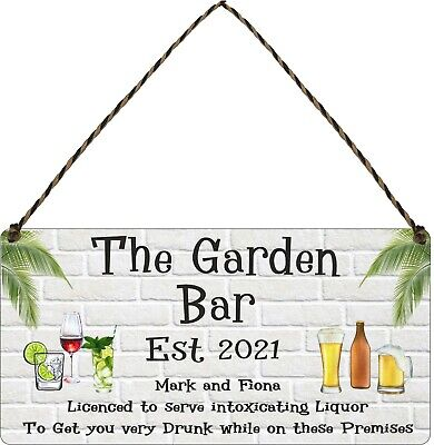 £5.99 • Buy Personalised Garden Bar Beer Backyard Shed Sign Wall Plaque Garage Pub Man Cave
