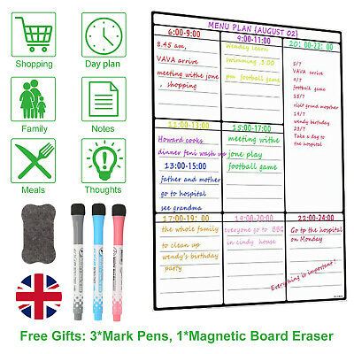 £7.59 • Buy A3 Magnetic Whiteboard And Dry Wipe Weekly Planner Or Notice Board For Fridge