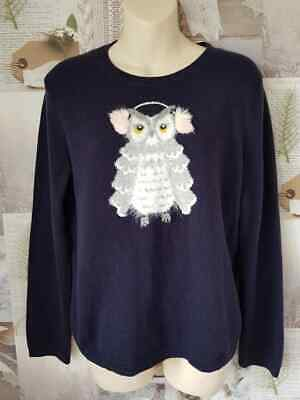 £29.99 • Buy * Kate Spade Broome Street Navy Wool Star Owl Sweater Jumper Size Small UK 10