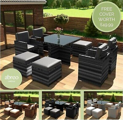 £599.99 • Buy Rattan Garden Furniture 8 Seater Dining Table Cube Set With Arm Chairs & Stools