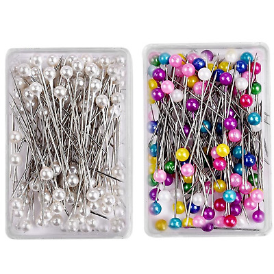 £2.99 • Buy Dressmaking Pins Sewing Round Pearl Head Straight Pins 100 PCs Decorating Crafts