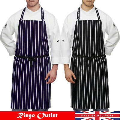 £3.99 • Buy Chef Apron With Pockets BBQ Butcher Catering Striped Apron For Men Women Ladies