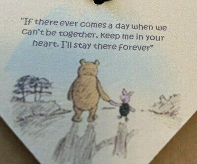 £2.59 • Buy Winnie The Pooh Comes A Day Wooden Heart Hanging Decoration Sign Plaque Gift (b)
