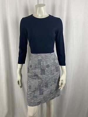 £19.99 • Buy Hobbs Navy Houndstooth/Dogtooth Print Pencil Dress Size 8