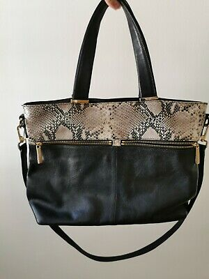 £15 • Buy Black  Leather  Large Tote Bag By M&S Autograph Excellent Condition Snake Animal