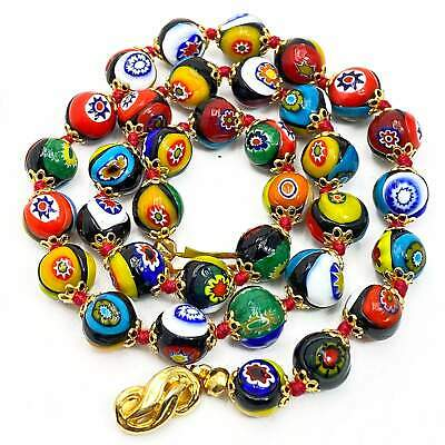 $77.59 • Buy Vintage Millefiori Bead Necklace 17  Hand Knotted Art Glass Strand Murano Italy
