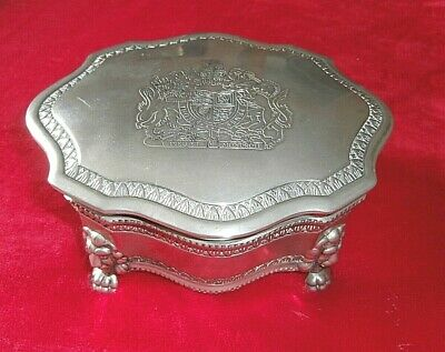 £22 • Buy SUPERB VINTAGE SILVER PLATED LARGE JEWELLERY BOX ~ COAT Of ARMS MOTIF ENGRAVED