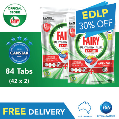 AU55.50 • Buy Fairy Platinum Plus All In One Dishwasher Tablets 84 Pack (42pk Twin Bundle)