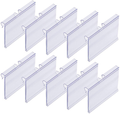 £16.10 • Buy 50x Clear Plastic Label Holders Wire Shelf Retail Price Label Merchandise Sign