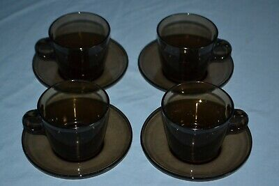 £20 • Buy Vintage French Set Of 4 Smoked Glass Coffee Cups And Saucers