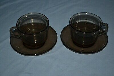 £10 • Buy Vintage French Set Of 2 Smoked Glass Coffee Cups And Saucers