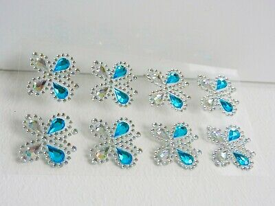 £1.75 • Buy Rhinestone Gem Stickers Self Adhesive TURQUOISE BLUE BUTTERFLIES For Card Making