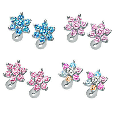 £5.76 • Buy 2 Pieces Crystal Flower Dermal Anchor Tops And Bases Microdermal Stainless Steel