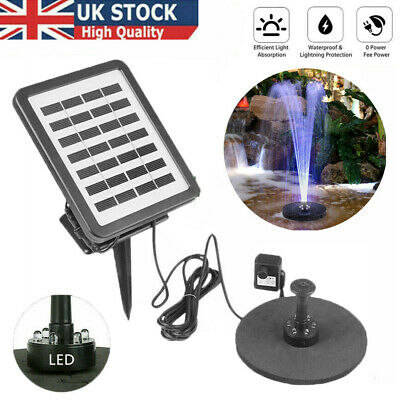 £27.59 • Buy Solar Power Water Pump With LED Light Battery Garden Outdoor Pond Fountain Pool