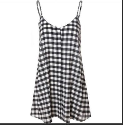 £7.99 • Buy Uk Women Strappy Swing Gingham Flared Skater Dress Jersey Midi Party Sexy Beach