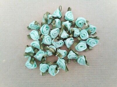 £3.29 • Buy 30 X Small Mint Satin Ribbon Rose Buds - Green Leaf Finish - Great For Crafting