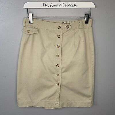 £12 • Buy Chino By Network • Vintage Beige Button Through Skirt • Size 10