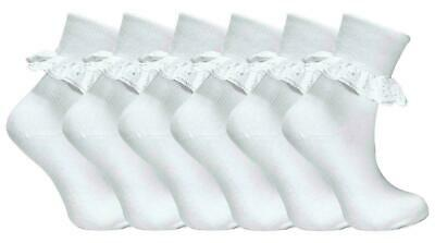 £3.99 • Buy Girls Frilly Lace Socks Ankle Top White School Uniform Size Age 2-12 Year 3Pairs